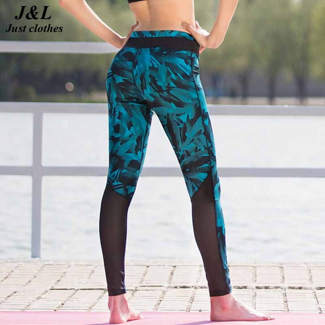 New! Blue Feather Print Leggings Women Sexy Mesh Splice Fitness Legging Brand Sporting Style Dry Quick Pants Slim Jeggings