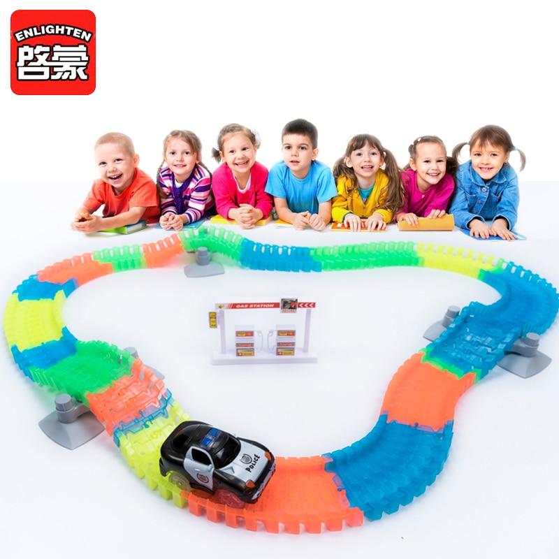 160pcs Racing Tracks Set Glowing Flexible Stunt Race Tracks Luminous Toys For Boys Childrens Railroad Slot Cars Kids Gift