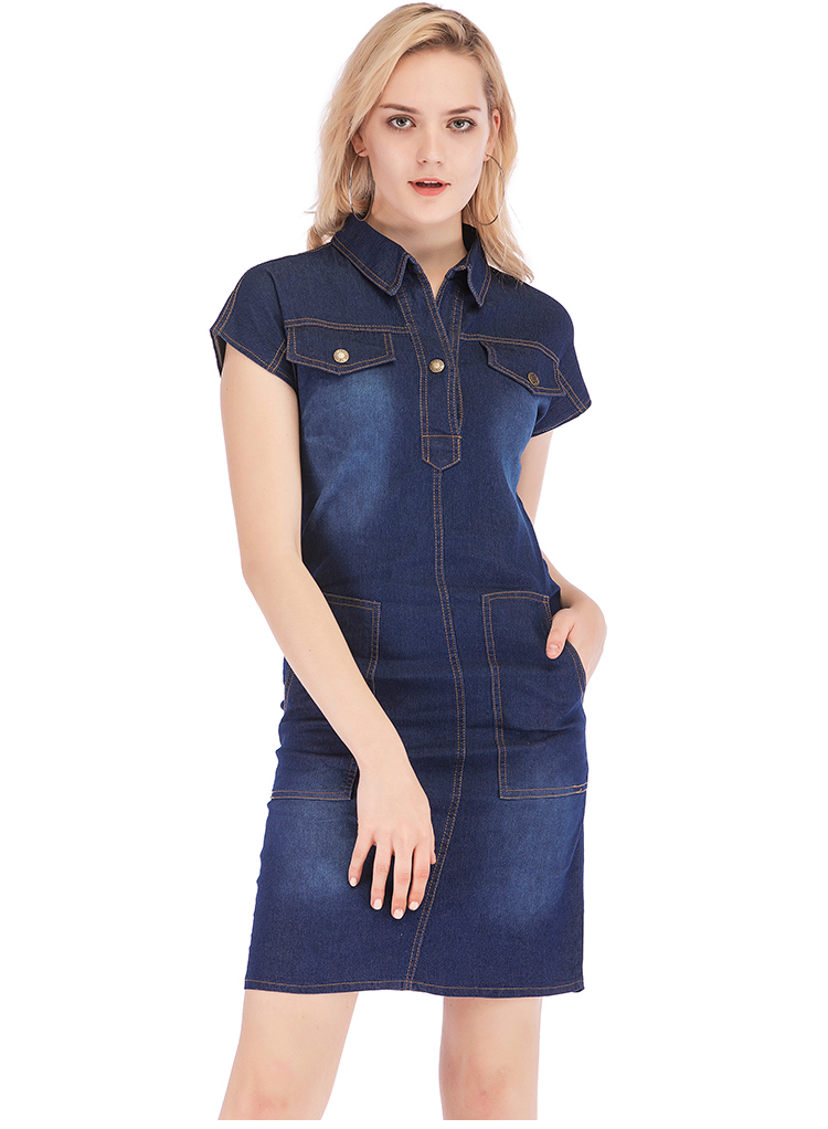 Loose Buttons Short Sleeve Blue Denim Dress 2