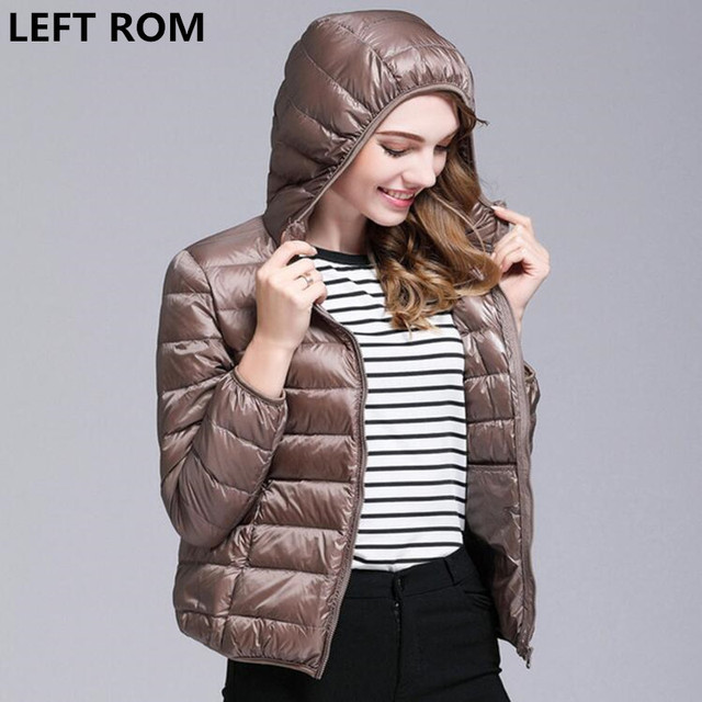 LEFT ROM Fashion women 90% White duck down down jackets/women Super light thin Hooded down jacket/Women slim Fit  coat S-XXXL