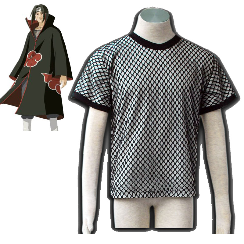 Anime Naruto Cosplay Costumes Akatsuki Uchiha Itachi Deidara Underwear Mesh Summer Short Shirts Ninja Tops For Halloween