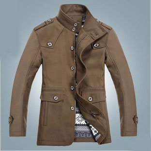 New autumn 2014 coats fashion designer men's brown wool style ...