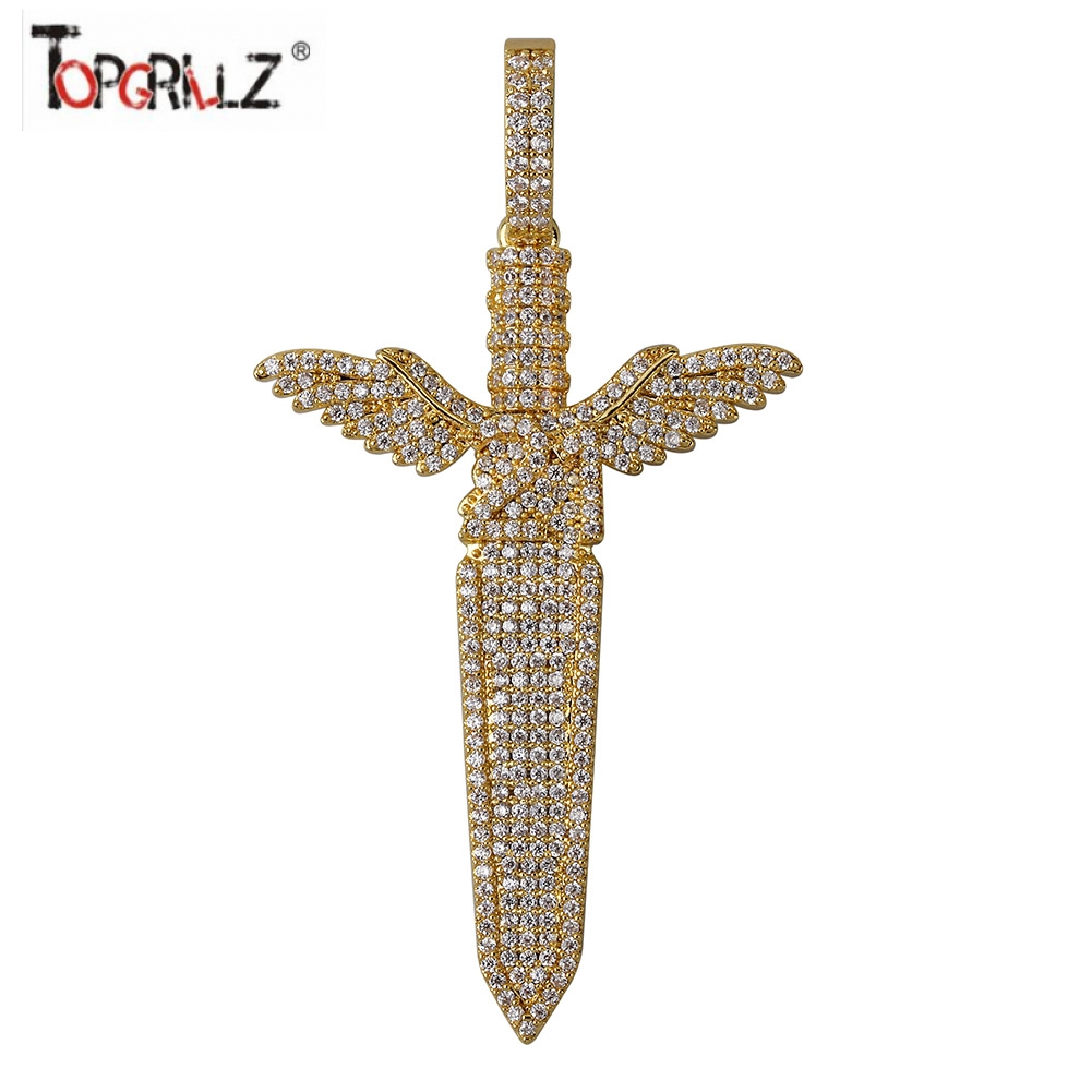 Iced Out Sword With Wings Pendant Necklace Mens/Women  With Tennis Chain Bling Hip Hop Gold Silver Color Charm Chain JewelryIced Out Sword With Wings Pendant Necklace Mens/Women  With Tennis Chain Bling Hip Hop Gold Silver Color Charm Chain Jewelry