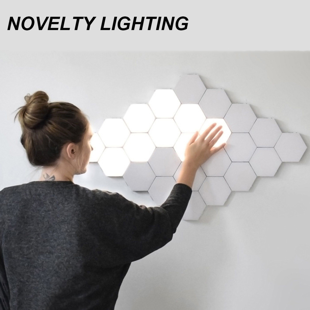 LED Lamp Hexagonal Mosaic Lamp Modular Touch Sensor Night Lamp Magneto-optical Hexagonal Decorative Creative Wall Lamp Dropship