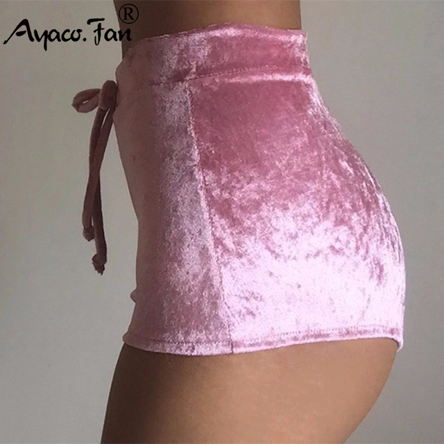 2019 Summer New Women Pink Velvet Slim Sports Shorts Sexy Bodycon Workout Flannel Short Pants Casual Lady Elastic Soft Sportwear 2