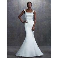 LAN TING BRIDE Mermaid / Trumpet Square Neck Court Train Wedding Dress Satin Bridal Gown with Beading Sash / Ribbon