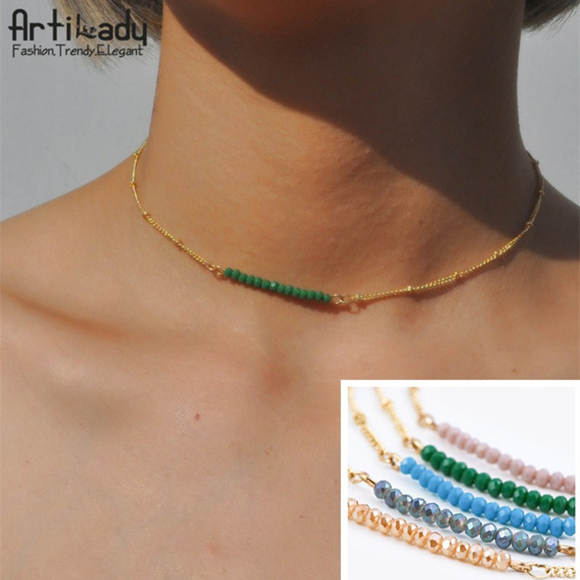 Artilady crystal beads choker necklaces gold color chain necklace for women jewelry party gift