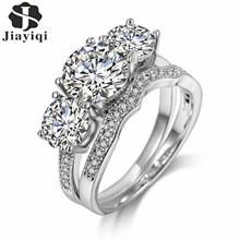 Фотография 2017 Luxury 2 Rings Sets Silver Color Bijoux Fashion Wedding Party Jewelry Cubic Zirconia Jewelry For Women with free gift box