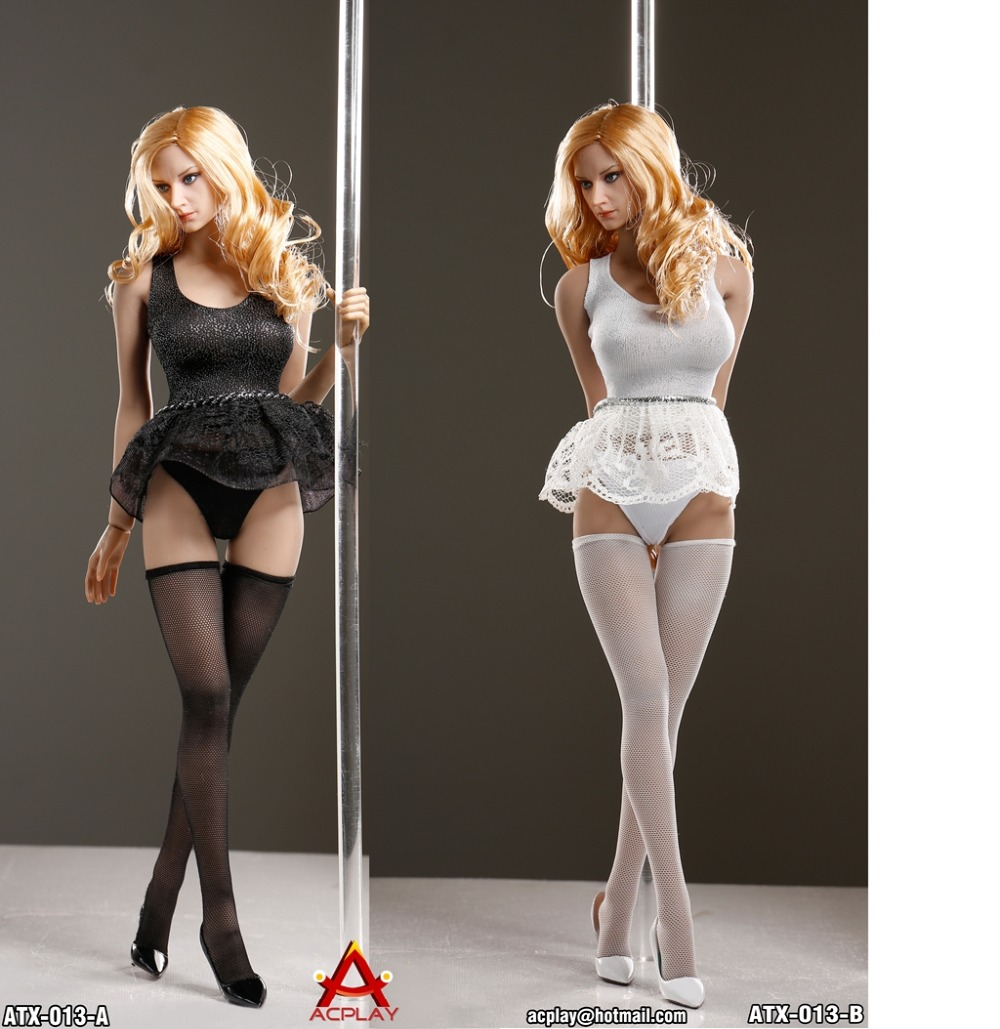 ACPLAY 1/6 ATX013 Pole Dancing Suit Female Sexy Bubble Dress Set for 12 Phicen Action Figure Dolls Toys new sexy vs045 1 6 black and white striped sweather stockings shoes clothing set for 12 female bodys dolls