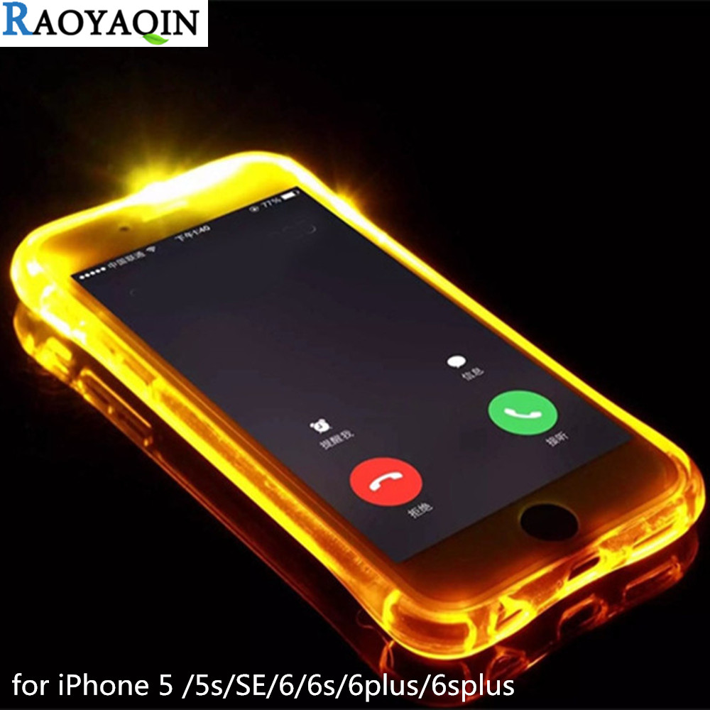 Fashion Case For iPhone 5s 6s 5 6 s Plus Soft TPU Case LED Flash Light Up Remind Incoming Call Cover Case for Coque iPhone