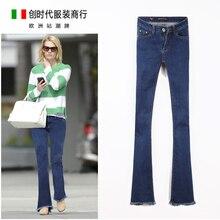 2016 autumn high waist jeans slim elastic fashion bell bottom female trousers