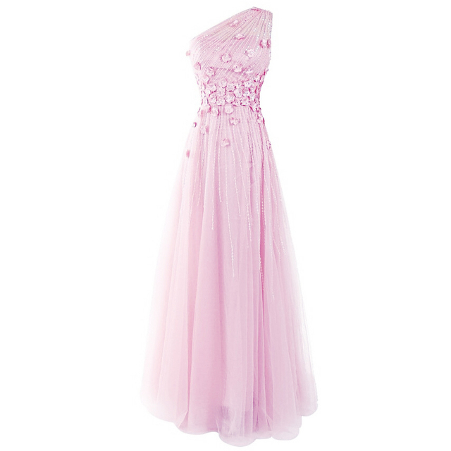 59b1af9914 Cute Light Pink Beaded Petals Prom Dress Sweet One Shoulder Long A-line  Party Dress Asymmetric Cowl Back Tulle Prom Gown 2017