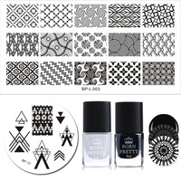 BORN PRETTY Stamping Template Polish Set 6ml Black White Polish French Triangle Cloud Net Nail Art