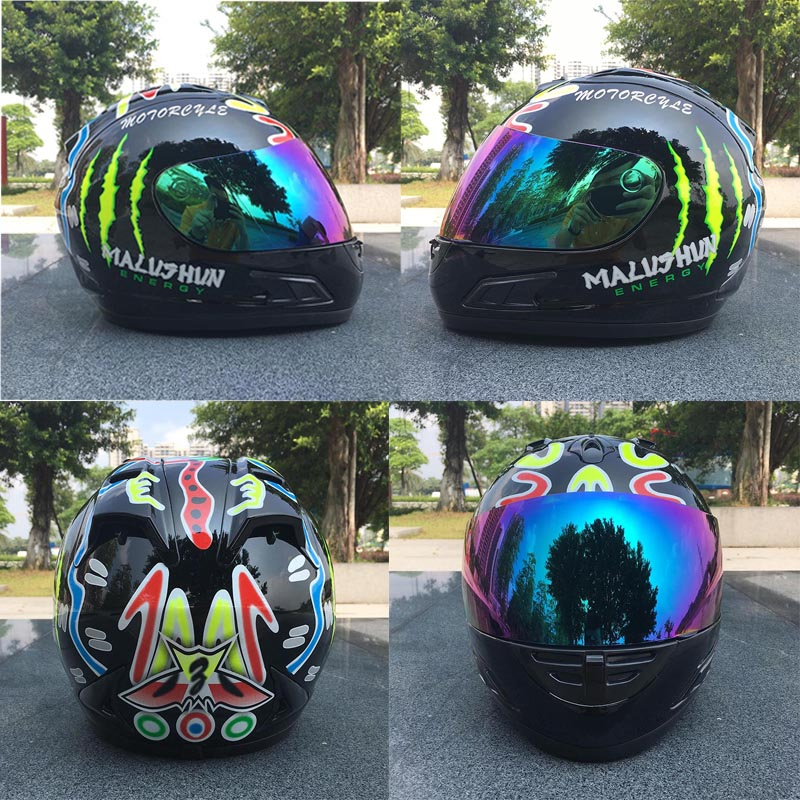 New design Color graffiti full face automobile race helmet anti UV anti fog motorcycle helmet Casco motocicleta Capacete motor
