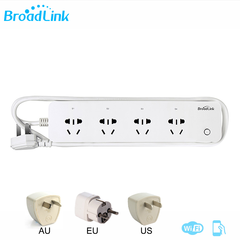 Original Broadlink MP1 Socket Plug Remote Control Separately Controllable WiFi 4-Outlet Power Strip For Smart Home Automation broadlink mp1 wifi power strip socket 4 outlet extension socket plug with eu us uk au adapter app remote control for smart home