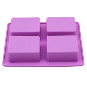 Image 5 - המפלגה קינוח סיליקון עובש צורת עץ 4 חור כיכר סבון אמנות עובש שוקולד עוגת דפוס בעבודת יד כלים