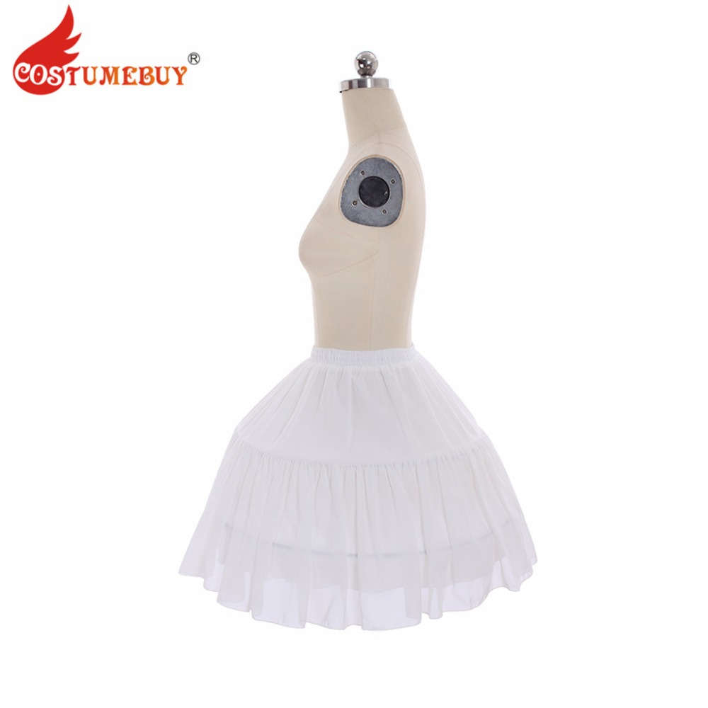 Costumebuy Lolita Short Underskirt 45cm Length Waist Adjust 2 Layers Hoop Ruffle A Line Woman Wedding Gift Casual Petticoat