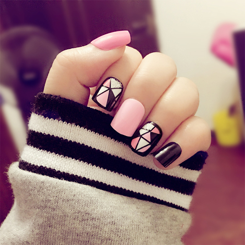 24pcs/set Black And Pink False Nails Square Head Full