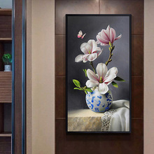 Needlework,DMC DIY Cross stitch,kits for Embroidery sets,table vase pink rose floral Flower Cross-Stitch handwork painting