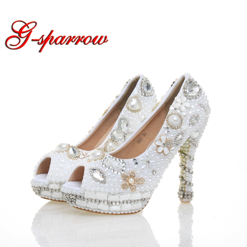 2018 Women Platform High Heels Bridal Wedding Shoes Ivory White Pearl Rhinestones Peep toe Bride Bridesmaids Prom Pumps Size 43 shoes women pumps sexy open toe large size 41 43 lace wedding shoes bride and bridesmaids wedding dress pearl high heeled shoes