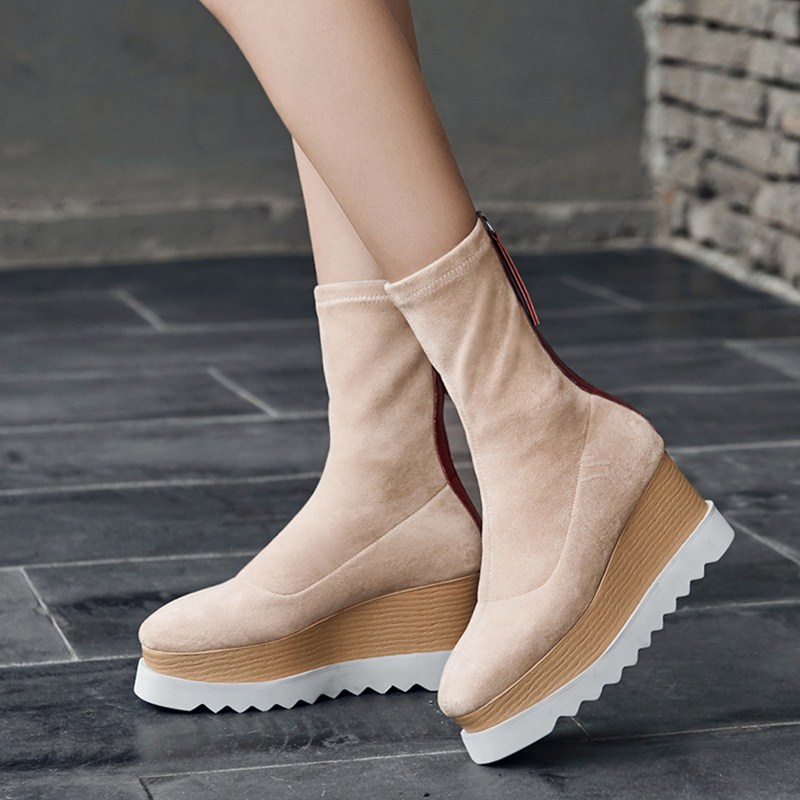 Bottes femme new winter wedges shoes women mid calf boots stretch flock flat platform shoes women Chelsea boots botas mujer