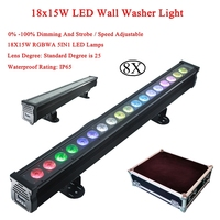 8pcs/Lot LED RGBWA 5IN1 Wall Wash 18x15W Lighting High power NO waterproof Led Floodlight Bright For Outdoor Indoor Dj stage