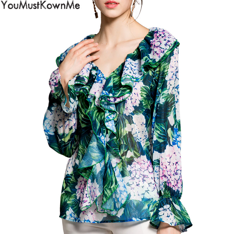 YouMustKnowMe 2018 spring summer women fashion tops blouses women sexy v-neck flare long sleeve green floral print ruffle blouse