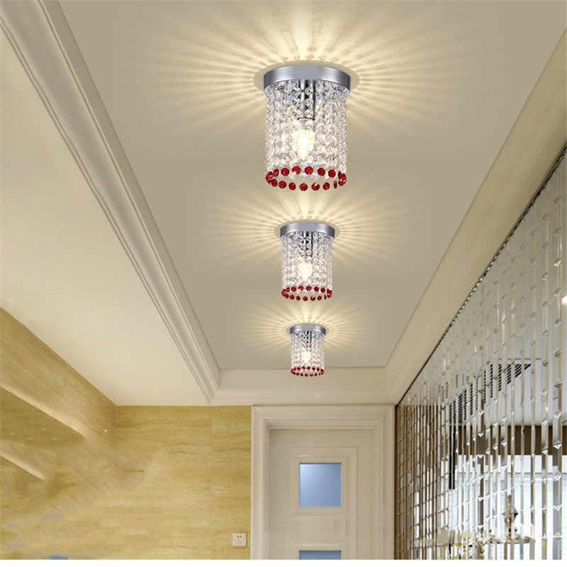 Простой с украшением в виде кристаллов потолочный светильник современный Цвет с украшением в виде кристаллов потолочный светильник прохода света коридор светодиодный настенный светильник lamparas de TECHO led лампа