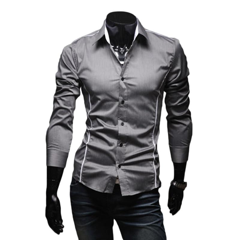 прямая доставка лидер продаж мужские рубашки повседневная мужская одежда рубашка с длинным рукавом отложной воротник Slim-подходят рубашки размер М-XXXL