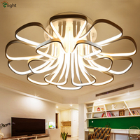 Novelty Post Modern Flower Design Aluminium Led Chandelier Dimmable Remote Control Ceiling Led Lamps For Foyer
