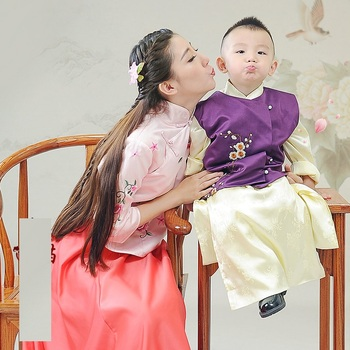 Children's Day Republican Period Mum and Son Parent Child Costume Sets Trditional Hanfu Stage Performance Costume Hanfu you zi yin tang dynasty prince and empress costume parent child costume sets mother son stage clothing