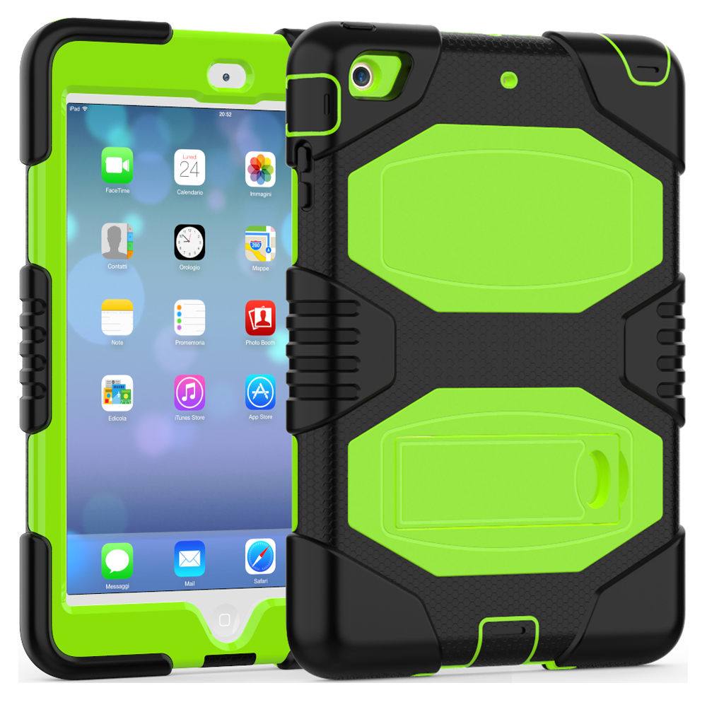 For iPad mini 1/2/3 Case Impact Resistant Shockproof Heavy Duty Hard PC+ Silicone Full Body Rugged Protective Cover w/ Kickstand