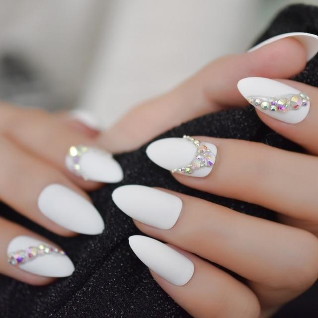 Stiletto Mate Press On Nails Custom Shimmer Shiny Rhinestones ...