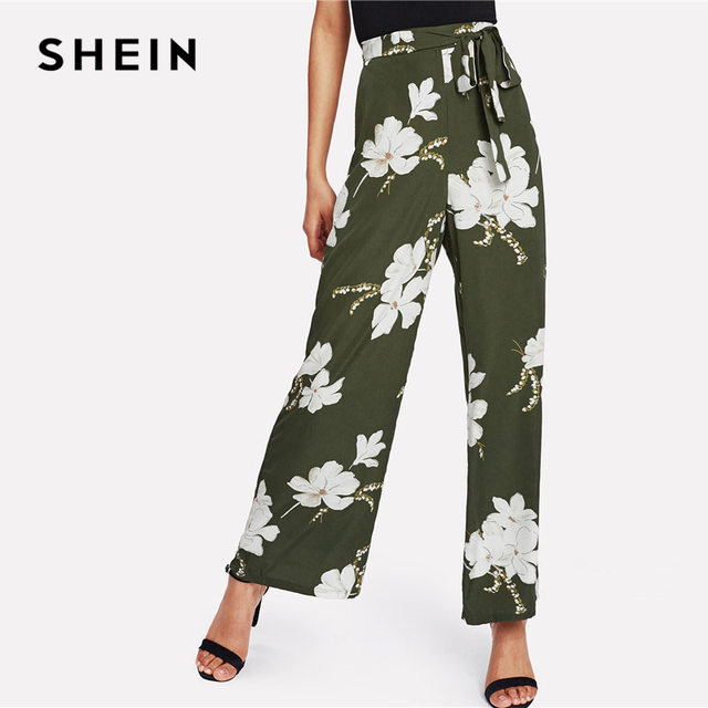 b26a99f449b010 SHEIN Flower Print Wide Leg Pants Green High Waist Belted Women Loose  Trousers 2018 Spring Elastic Waist Casual Long Pants