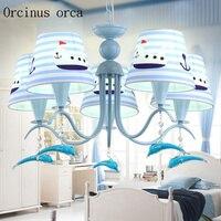 Mediterranean Blue Dolphin chandelier children room boy bedroom creative cute cartoon child Chandelier free shipping