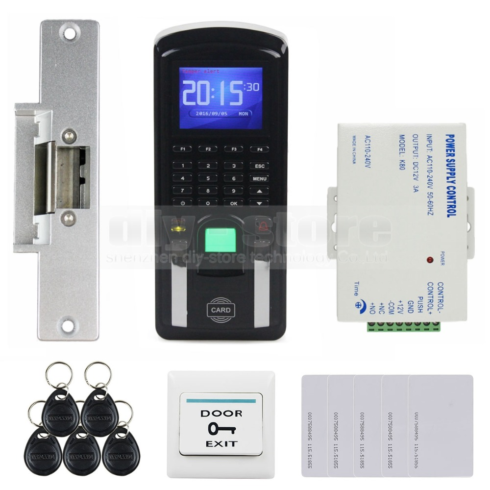 DIYSECUR Fingerprint 125KHz RFID Reader Password Keypad + Strike Lock Door Access Control System Kit for Office / House diysecur magnetic lock door lock 125khz rfid password keypad access control system security kit for home office