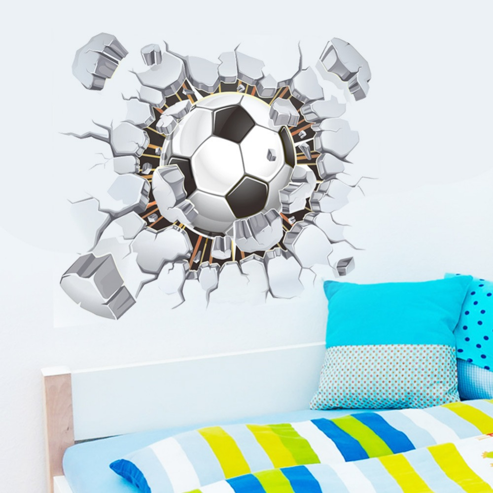 3d football soccer broken wall hole view home decal wall stickers print poster kids room sport boys bedroom decorative mural