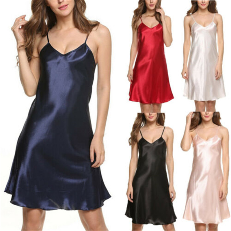 Sexy Women Nightwear Satin Chemise Nightie Ladies Summer Solid Nightdress Sleepwear V Neck Slip   Nightgowns   Mini   Sleepshirts
