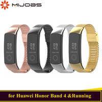 Mijobs מתכת רצועת להחליף עבור Huawei כבוד להקת 4 רצועת צמיד נירוסטה חכם אביזרי לכבוד להקת 4 צמיד