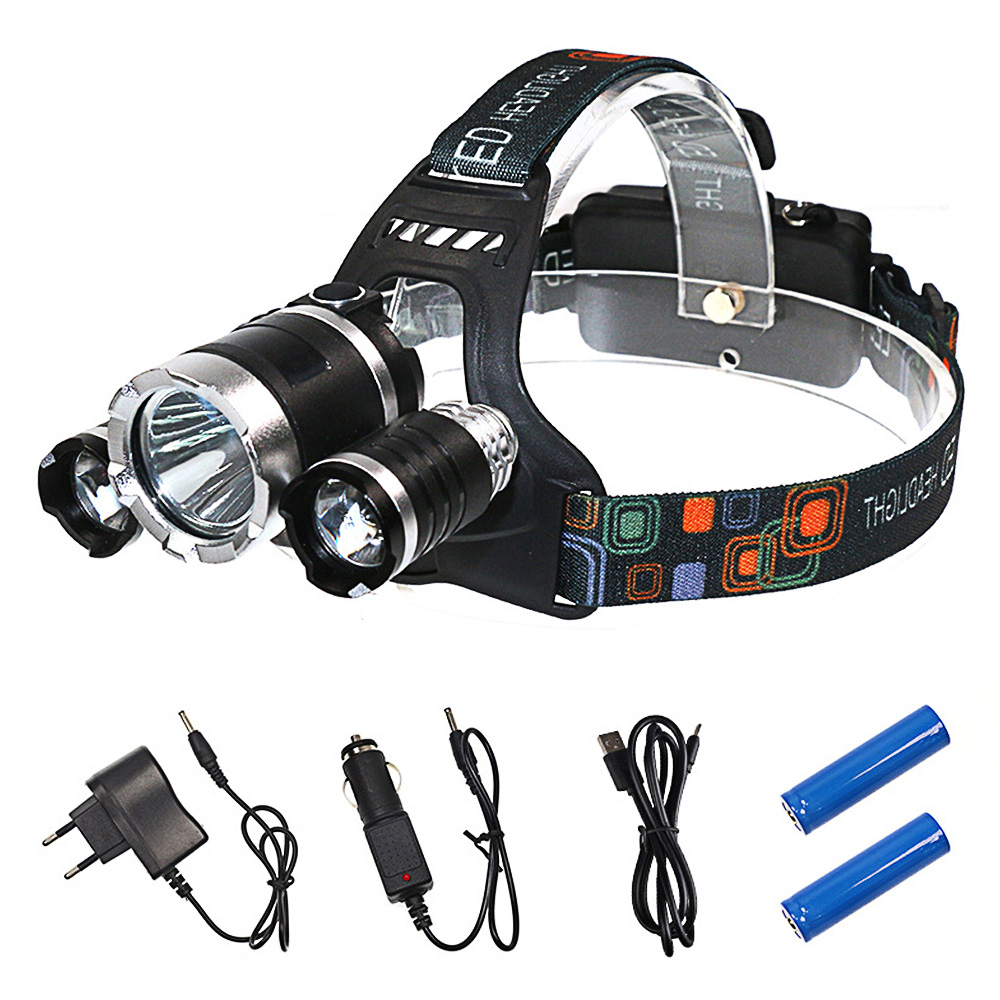 Rechargeable USB LED Fishing Head Lamp Waterproof Super Bright LED Front Head 18650 Batteries Headlamp for Camping Head Torch super bright led headlamp water resistant head torch built in 3x18650 rechargeable batteries 2 light modes headlight for outdoor