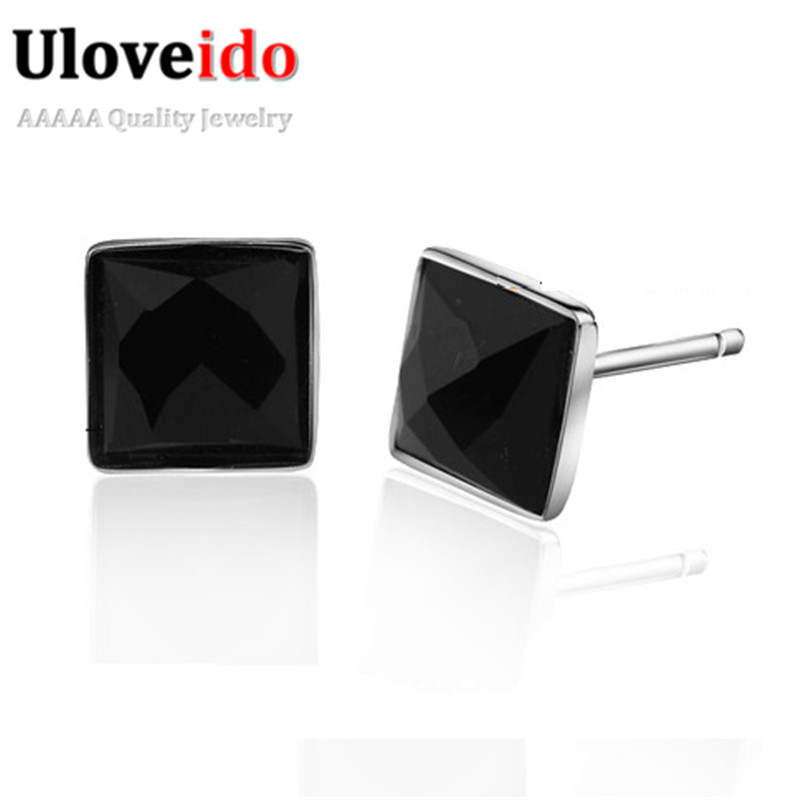 New Square Black Stud Earrings For Men Silver Color Jewelry Women Earings Cubic Zirconia Earring Bijoux
