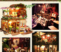 DIY Wooden Miniatura Doll House villa Model with furniture LED light /Handmade 3D Miniature Dollhouse toys for children adults