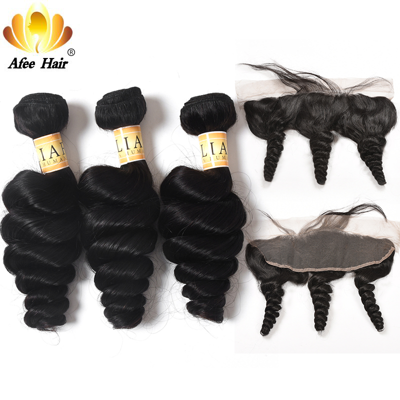 Aliafee Hair Brazilian Loose Wave Hair Weave 3 Bundles With frontal Deal 100 Human Hair Extension