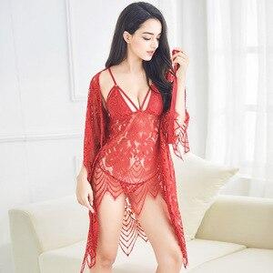 Image 2 - Lisacmvpnel 3 Pcs Hollow Sexy Women Robe+Nightgown+G String Sets Long Section Breathable Women Bathrobe