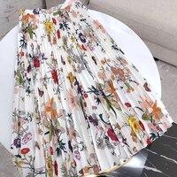 Весна осень новейшая Ретро Женская Рубашки с цветочным принтом плиссированная юбка макси для дам Высокое качество Женская плиссированная