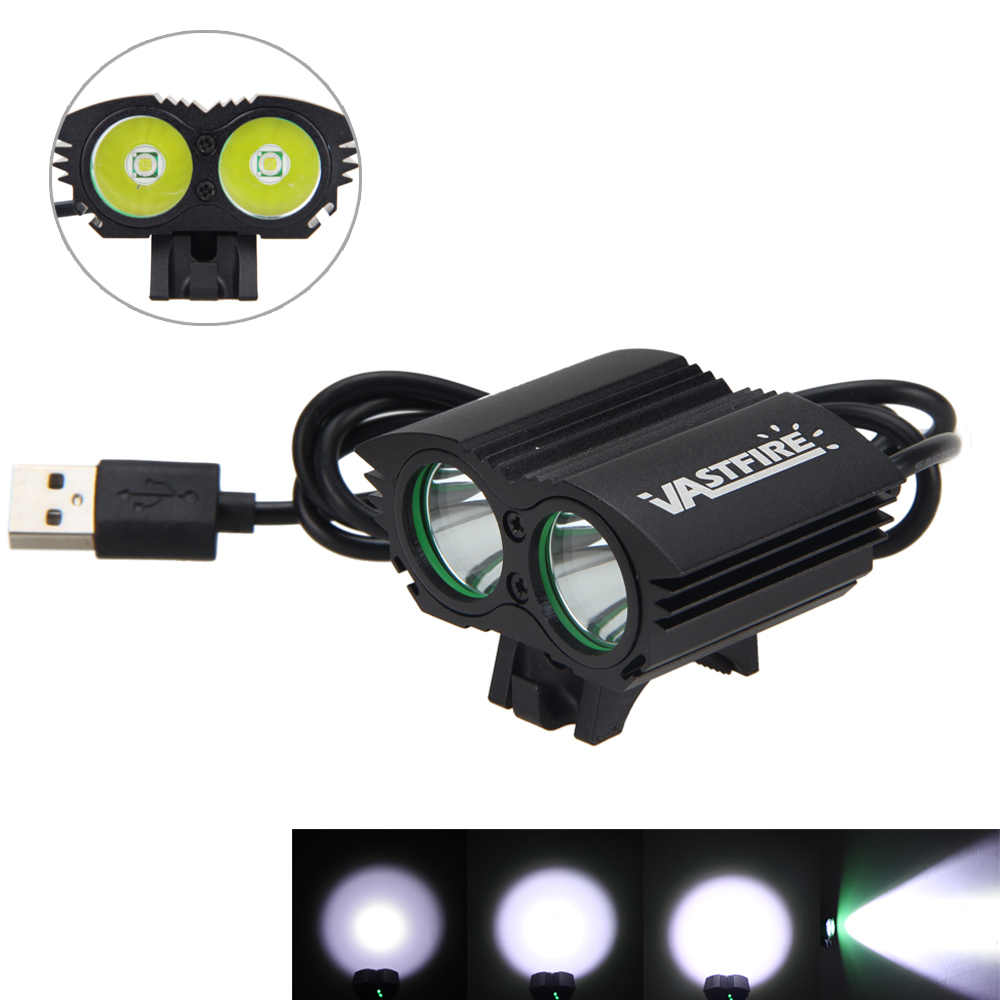 Dual USB Bike Light 5000Lumen 2x XM-L T6 LED Bicycle Head Torch Front Headlight Only Lamp No Battery cree xm l t6 bicycle light 6000lumens bike light 7modes torch zoomable led flashlight 18650 battery charger bicycle clip