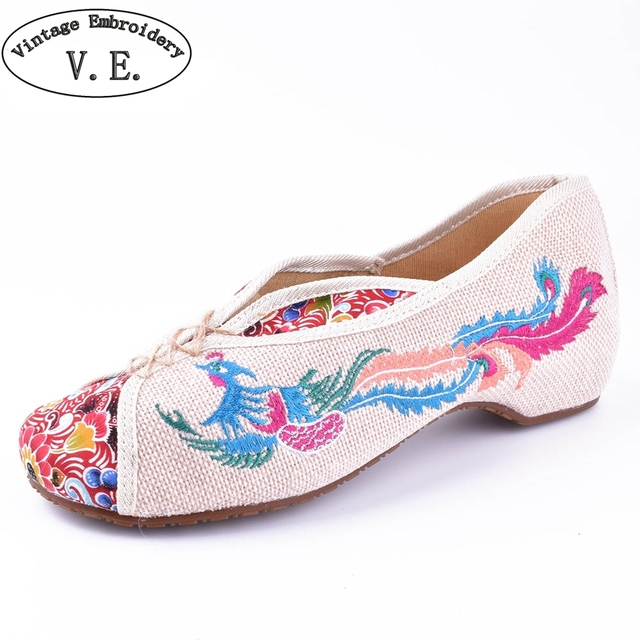 81d6c363bcc6 Vintage Canvas Flats Shoes Phoenix Embroidered Shoes Comfortable Beijing  Style Dance Ballerina Singles Ballet Flats