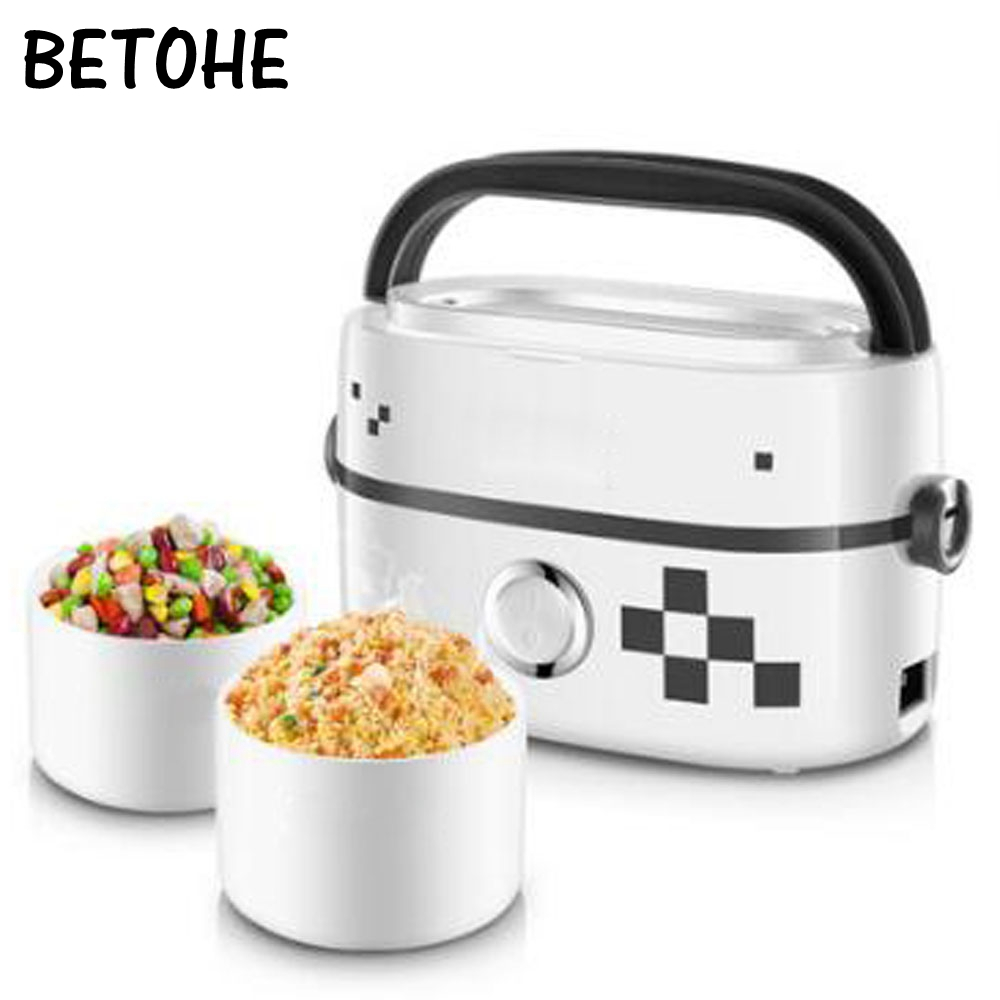 BETOHE Electric heating lunchbox enamel lined mini lunch box electricity heating cooking insulated lunchbox