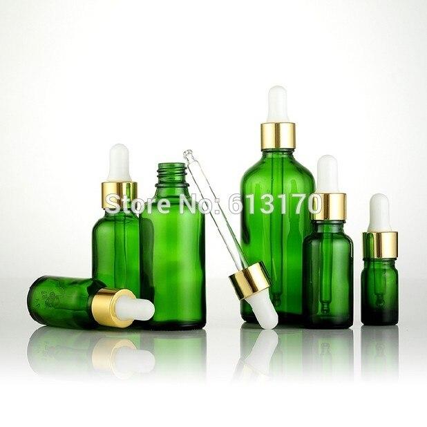 Nuovo arrivo 5 ml, 10 ml, 15 ml, 20 ml, 30 ml, 50 ml, 100 ml bottiglie di Vetro Verde Con Contagocce, Vuota di Olio Essenziale Fiale di Vetro di gomma Bianca