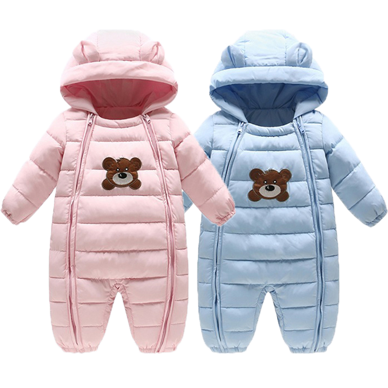 Newborn Baby Snowsuits Hooded Jumpsuit Cotton Boys Girls Winter Coats Kids Warm Clothes Infantil Thick Rompers Outerwear christmas 2017 brand new winter newborn infantil baby rompers kid boys and girls clothing real fur jumpsuit down overall jacket